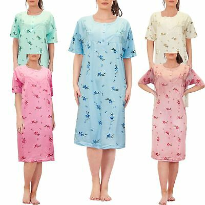 New Ladies Long Nightie Short Sleeve Nightwear Crew Neck Button Floral  Printed d1e1d0952