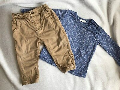 Baby Boys Blue Sleeved T-Shirt & Stone Skinny Chinos Outfit * 6-9 Months * Next