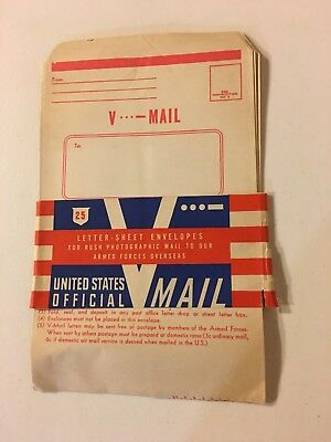 """WWII """"V-Mail"""" Envelopes Blank with Band (Qty 10)"""