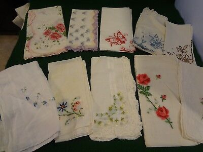 LOT of 10 VINTAGE HANKIES EMBROIDERED WOMENS HANDKERCHIEFS - Floral Butterflies