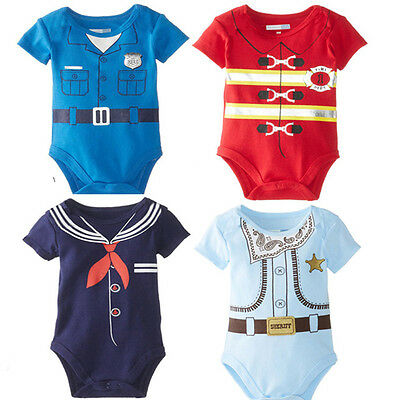 Baby Toddler Boy Girls Sailor Short Sleeve Romper Summer Babygrows Clothes 0-18M