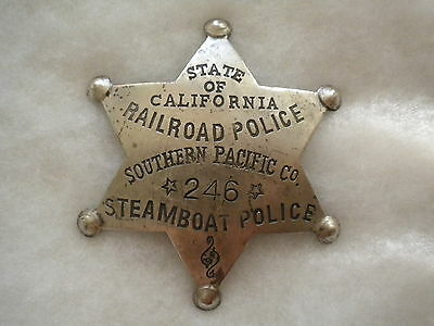 Southern Pacific Co Steamboat Police California Badge Railroad Police