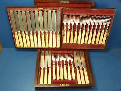 Antique Cutlery Set Knives + Forks 36 Pcs In Wood & Velvet Case