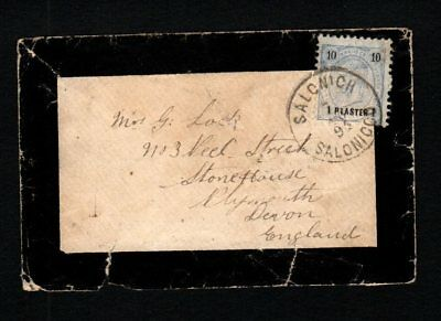 Greece (Austria) 1893/4 Mourning Cover Salonicco pmk to Plymouth UK pmk