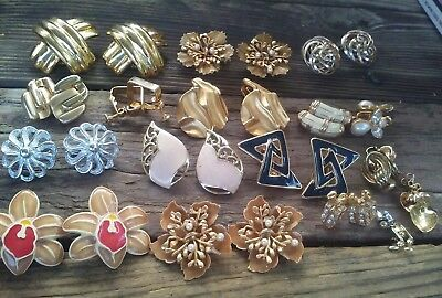 Vintage Lot Of Jewelry All Earrings Gold Tone Rhinestone Signed Pat Pend Avon
