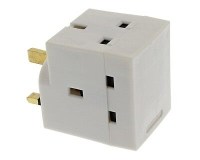 3 Way Socket Adaptor Multi Plug Fused Adapter UK Mains Three Sockets