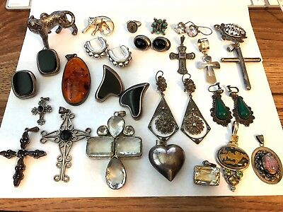 306 Grams SERLING SILVER Jewelry Some Stones Mostly Vintage Not Scrap