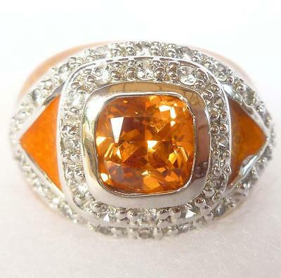 Huge Geometric Synthetic Topaz CZ Orange Swirl Enamel Signet Ring Sz 8 Thailand