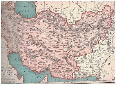 1942 Map Of Iran Afghanistan Baluchistan - Map of India Bhutan Nepal on Reverse