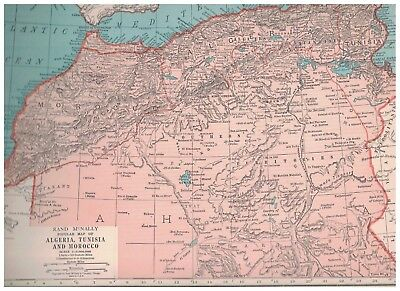 1942 Map of Algeria Tunisia & Morocco - Map of Union Of South Africa On Reverse