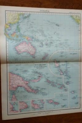 1923 Map Of Oceania Protestant Mission Stations  - John Bartholomew
