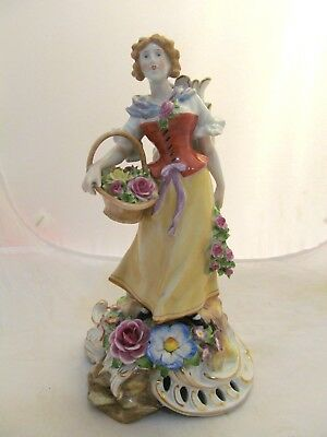 Antique Von Schierholz's porcelain figurine,woman with basket & flowers,Germany.