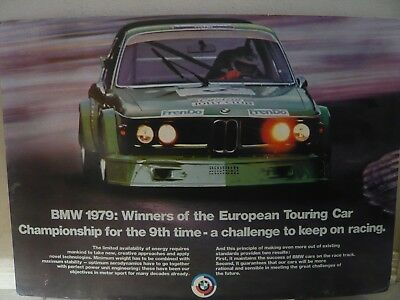 Original Dealer Showroom Poster BMW CSL Coupe E9 Factory 1979