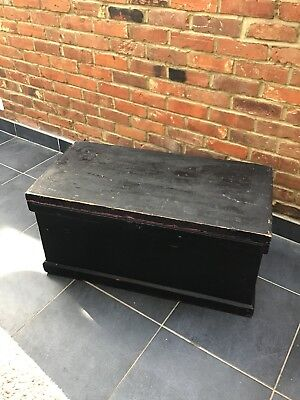 Antique Victorian Solid Old Pine Blanket Toy Box Tack Chest Trunk Storage