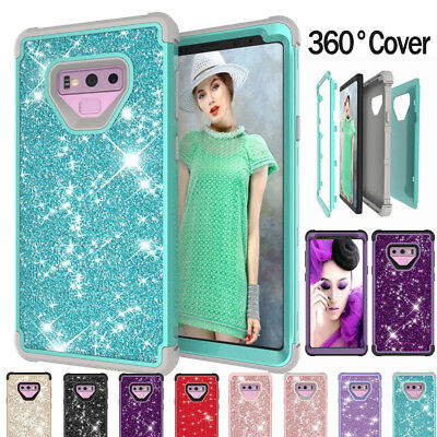 360° Protective Bling Glitter Heavy Duty Shockproof Cover Case For Galaxy Note 9