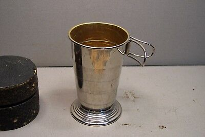 vintage german traveling folding collapsible drink cup & case 3 3/4 ,gold lined