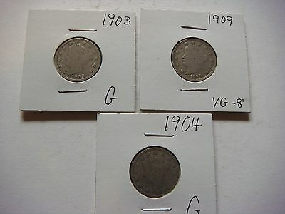 Lot of 3  Liberty Head Nickel - five cent Coins 1903, 1904, 1909, Nice   #9625