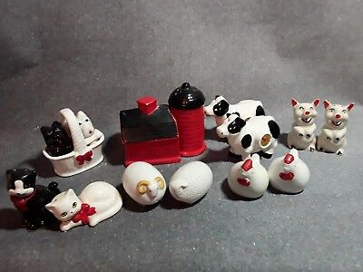 Vintage Farm lot of 7 Salt and Pepper Shakers barn, cows, pigs cats, dogs & more