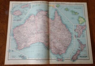 1923 Map Of Australia and New Zealand Protestant Mission Stations Bartholomew