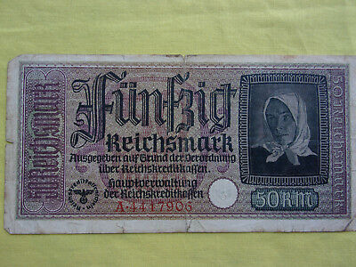 Nazi Occupation Currency 50 Reichsmarks