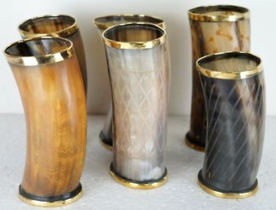 Set of 6 Viking Drinking Horn Cups Mugs For Beer Wine Mead