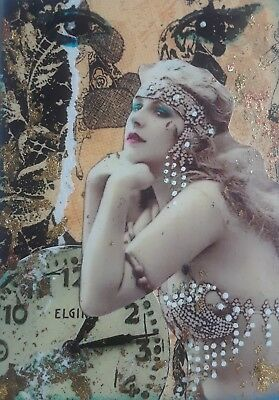 Aceo Original Collage, Showgirl With Clock, Signed By Artist