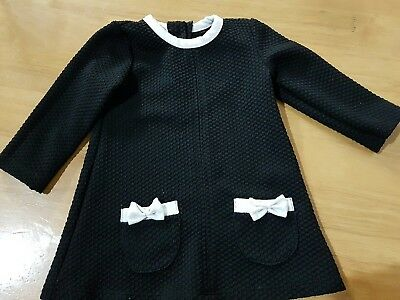girls 9-12 months smart long sleeved tunic blouse dress black bow next day