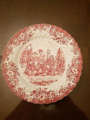 JOHNSON BROS BROTHERS - COACHING SCENES ROSE - 6 assiettes plates - PARFAIT ETAT