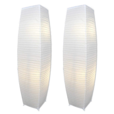 Light Accents ALUMNI Chrome Floor Lamp Set with White Paper Shades (Set of 2)
