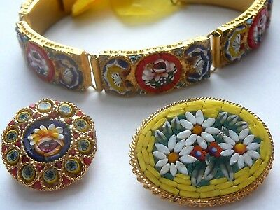 Vintage-Estate Jewelry Lot-Micro Mosaic Bracelet & 2 Pin-Brooches-Made Italy