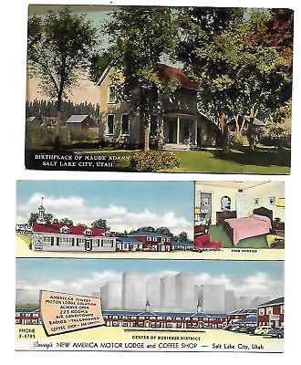 Salt Lake City, UT - 2 Cards - Maude Adams Home - Motel