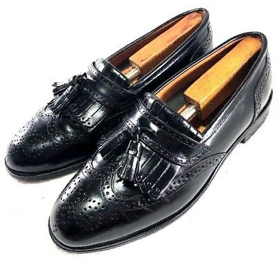 French Shriner MILTON  Black Leather Tassel Kiltie Wingtip Loafers Mens Size 7