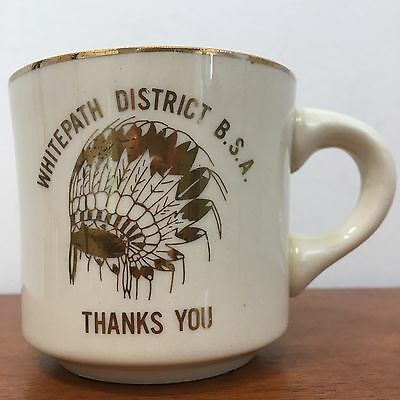 Vintage 70s WHITEPATH DISTRICT BSA THANKS YOU Boy Scouts Coffee Mug Cup KY