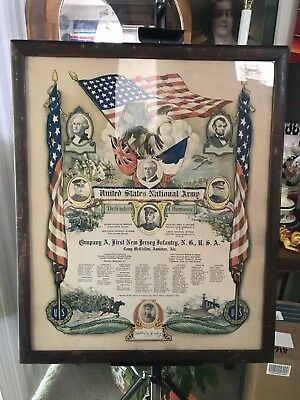 Original Ww1 Military Roster Brilliant Colors Stone Lithograph