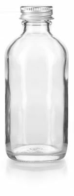 4oz Clear Glass Boston Round Bottles Silver Metal Screw On Caps+ Funnel & Labels