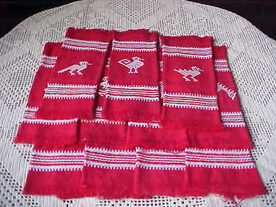 "Vintage Napkins Red Cotton Huck Weaving Birds Theme 7"" Square Fringe Edge Qty 11"