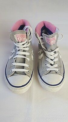 Girls junior Converse high top trainers. Grey with pink trim. Uk 3.