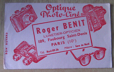 Buvard publicitaire optique Photo Ciné Roger BENIT  Faubourg St Denis PARIS 10e