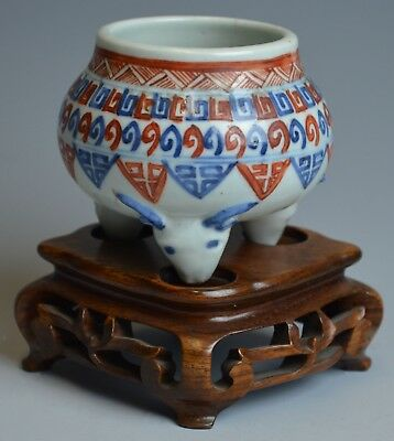 Chinese Blue and White Iron Red Tripod Incense Censer Burner