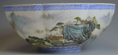 Thin Egg-shell Chinese Famille Rose Landscape Porcelain Bowl with mark
