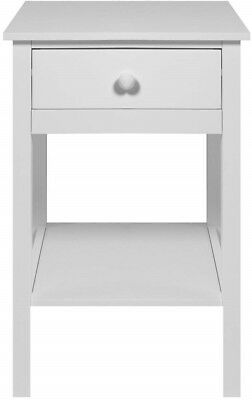 Woodluv Bedside Table with 1 Drawer and Shelf Storage - White A