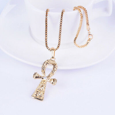 """Egyptian Ankh Pendant Necklace - Long 22"""" chain"""