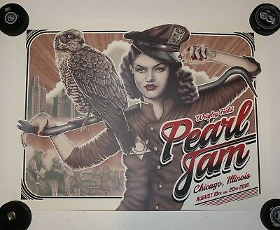 Pearl Jam Chicago Wrigley Field Poster Print 2018 August 18th 20th Eddie Vedder