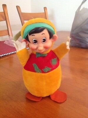 Gund Pinocchio Chime Plush Roly Poly Toy 1950s Tag 8.5in Rubber Face