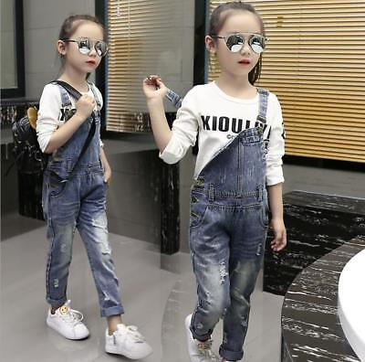 New Girls Summer Ripped Jumpsuit Dungarees Denim Pants Jeans Overalls Hot Kids