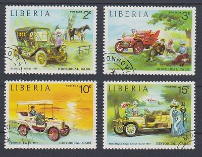 *LIBERIA*   HISTORICAL CARS,    4pcs,   cancelled