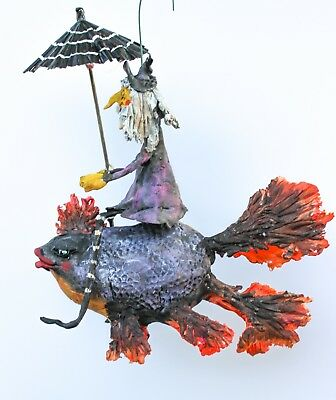 Primitive Halloween Creepy Witch Riding Black Goldfish With Umbrella Ooak 8 1/2""