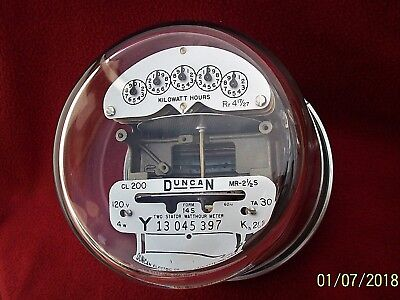 DUNCAN TYPE MR-2 ½ S DUAL DISK FORM 14S, 200 amp, 120 volt, Three Phase Meter