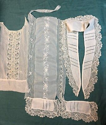 Antique Irish Crochet Lace Collar Cuffs Yokes Lot with Linen and Batiste