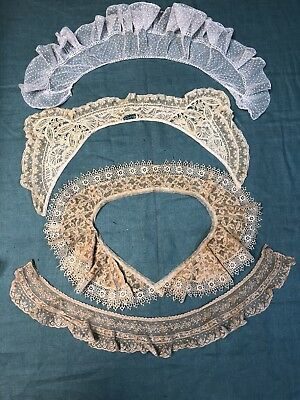 Antique Lace Collars Lot  4 pcs  French Lace Mixed Lace Dotted Net